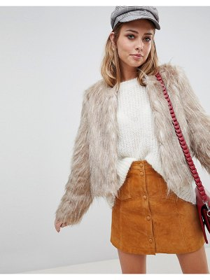 Urbancode faux feather crop jacket