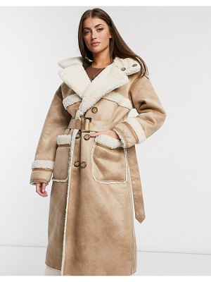Urbancode retter reversible faux shearling coat in vanilla-cream