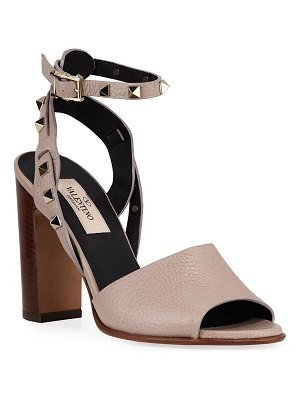 Valentino 100mm Rockstud Ankle-Wrap Sandals