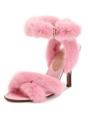VALENTINO 95mm Mink Fur Ankle-Wrap Sandal