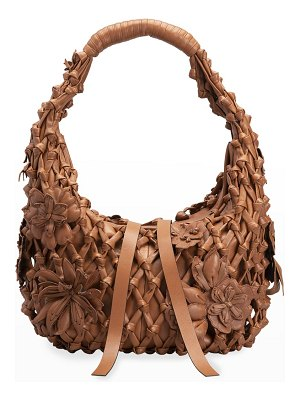 Valentino Atelier Lace Small Leather Hobo Bag