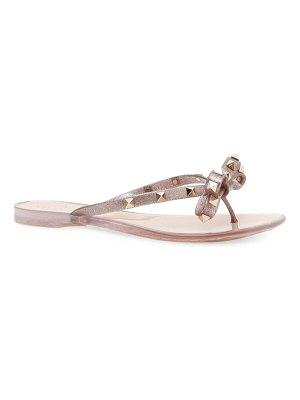 Valentino rockstud bow metallic jelly thongs