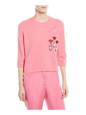 VALENTINO Crewneck Elbow-Sleeve Wool-Cashmere Sweater W/ Lipstick-Embroidery