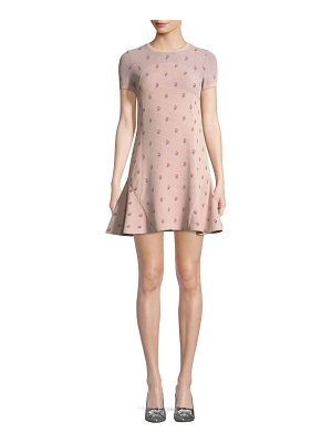 VALENTINO Crewneck Short-Sleeve Rose-Jacquard Fitted Dress