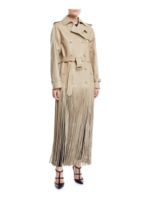 Valentino Double-Breasted Belted Fringe Hem Leather Trench Coat