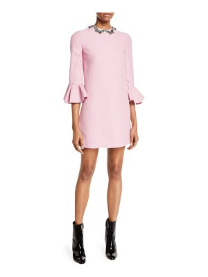 Valentino Elbow-Sleeve A-Line Crepe Couture Mini Cocktail Dress w/ Butterfly Jewels