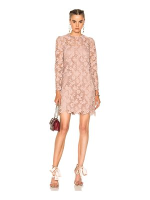 Valentino Embellished Lace Long Sleeve Dress