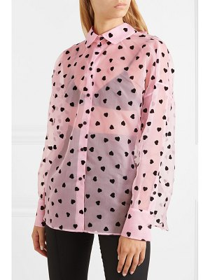 Valentino flocked silk-organza shirt