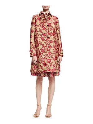 VALENTINO Floral Brocade Single-Breasted Coat