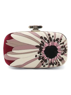 Valentino Flower Leather & Velvet Box Clutch Bag