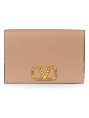 Valentino garavani medium vlogo leather clutch