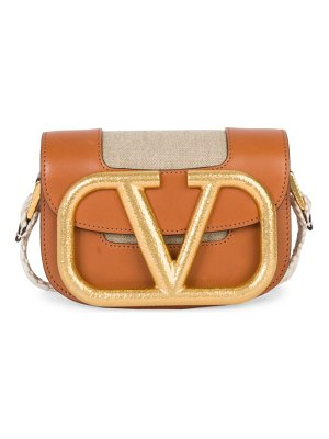 Valentino garavani supervee leather-trimmed canvas saddle bag