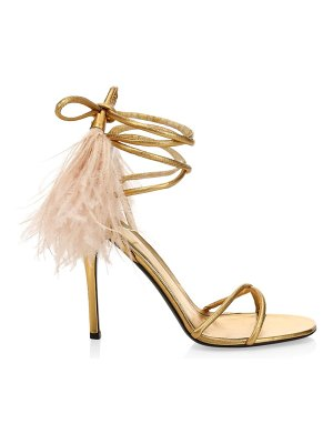 Valentino garavani upflair feather-trimmed metallic leather sandals