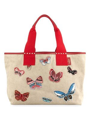 VALENTINO Grande Plage Butterfly Embroidered Tote Bag