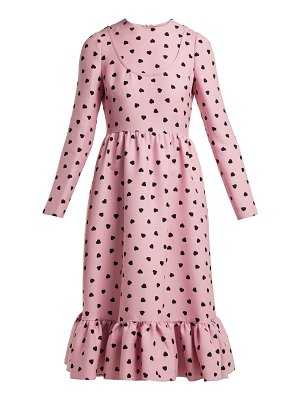 Valentino Heart-print silk-crepe midi dress