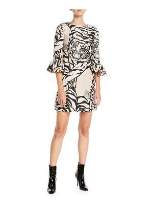 Valentino Jewel-Neck 3/4-Sleeve Tiger-Print Crepe Cocktail Dress