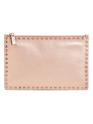 VALENTINO Large Rockstud Flat Leather Zip Pouch