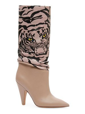 Valentino leather tiger mid-calf boots