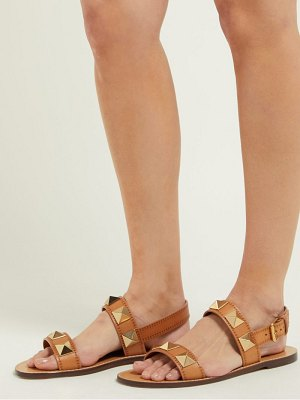 Valentino lock rockstud leather slingback sandals