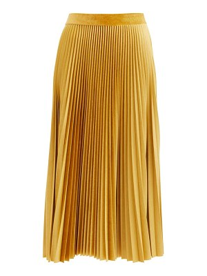 Valentino logo-embroidered pleated velvet-jersey midi skirt