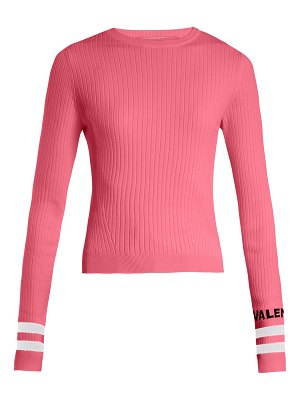 Valentino Logo Intarsia Striped Stretch Knit Sweater