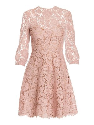 Valentino long sleeve lace fit-&-flare dress