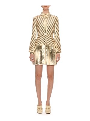 Valentino Long-Sleeve Paillette-Ribbon Embroidered Body-Con Mini Dress