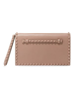 Valentino Monochrome Rockstud Leather Wristlet Clutch Bag