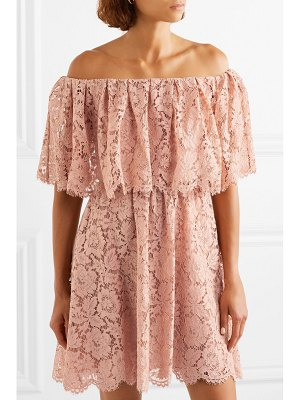 Valentino off-the-shoulder guipure lace mini dress