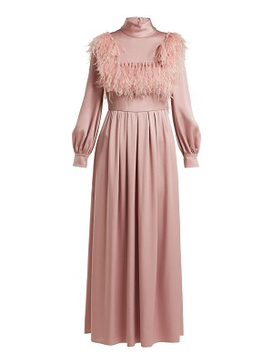 Valentino Ostrich Feather Trim Cady Gown