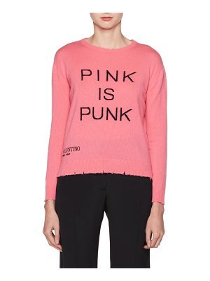 VALENTINO Pink Is Punk Crewneck Wool-Cashmere Sweater