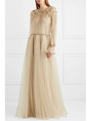 Valentino pleated sequined tulle gown
