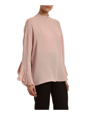 Valentino Plisse Georgette Crinkles Cuff Blouse