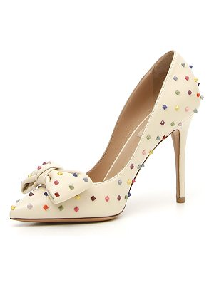 VALENTINO Rainbow Rockstud Leather Bow Pump