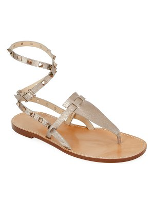 Valentino Rockstud Alce Metallic Ankle-Wrap Thong Flat Sandals