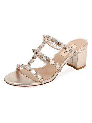 Valentino Rockstud Caged Metallic Leather Slide Sandals