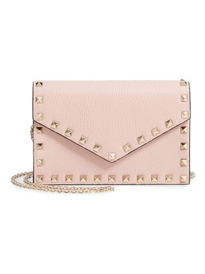 Valentino rockstud calfskin leather envelope pouch