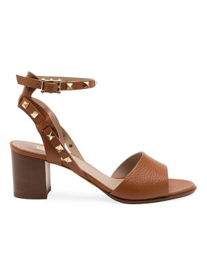 Valentino rockstud double ankle-strap leather sandals