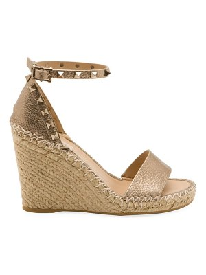 Valentino rockstud metallic leather espadrille wedge sandals