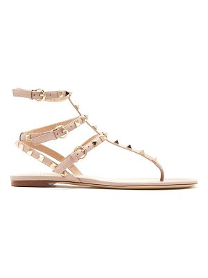Valentino Rockstud flat leather sandal