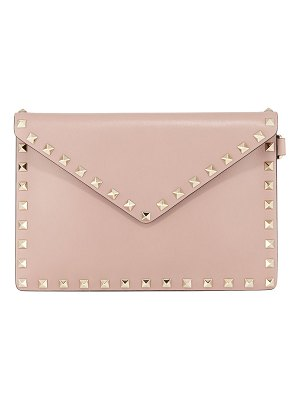 Valentino Rockstud Medium Leather Flat Clutch Bag