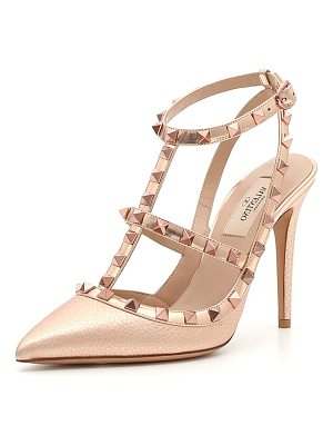Valentino Rockstud Metallic Leather 100mm Pumps - Rose Hardware
