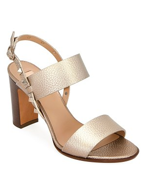 Valentino Rockstud Metallic Leather Double-Band Sandals
