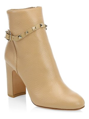 Valentino rockstud pebbled leather ankle booties