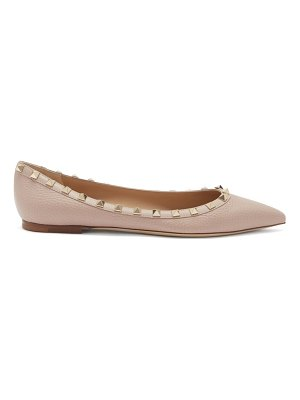 Valentino rockstud point-toe leather ballet flats