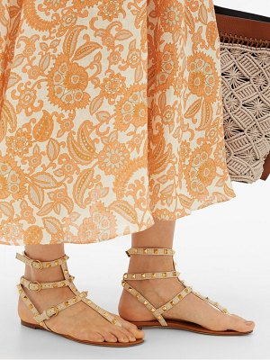 Valentino rockstud raffia and leather gladiator sandals