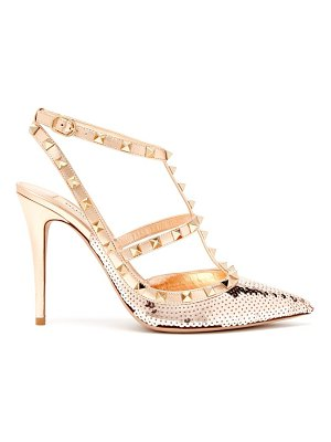 Valentino Rockstud sequin-covered leather pumps