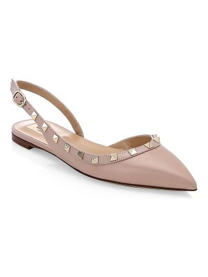 Valentino rockstud smooth leather slingback ballerina flats