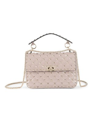 Valentino rockstud spike quilted patent leather medium shoulder bag