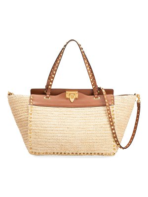 Valentino Rockstud Straw and Leather Small Tote Bag